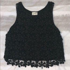LA Hearts Black Floral Lace Crop Top